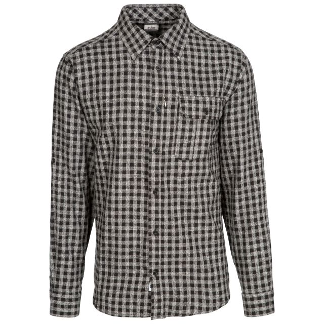 Participate Men's Checked Cotton Shirt in Black, Front view on mannequin
