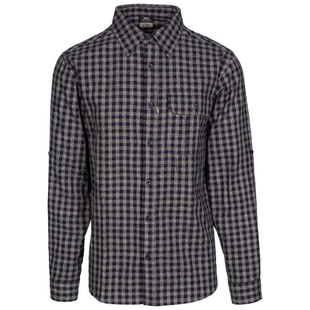 Participate Men's Checked Cotton Shirt in Navy, Front view on mannequin