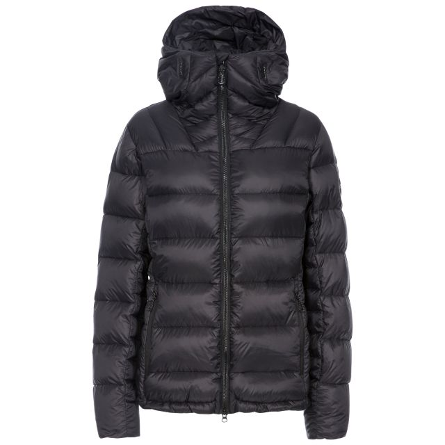 DLX Womens Down Jacket Pedley in Black, Front view on mannequin