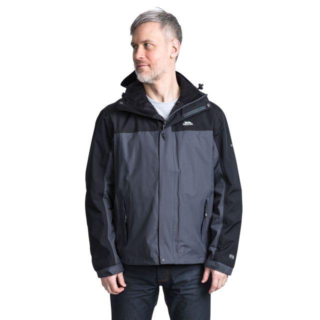 Phelps Men's Waterproof Jacket in Grey, Back view on model