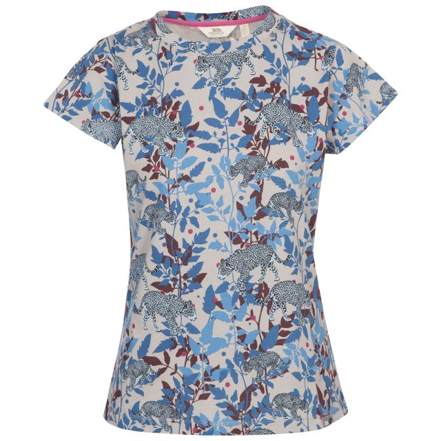 Phillipa Women's Printed T-Shirt in Light Blue, Front view on mannequin