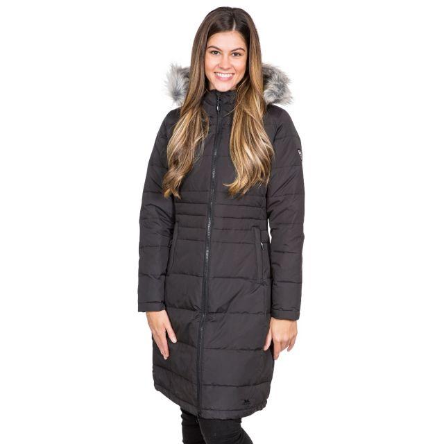 Trespass Womens Down Parka Jacket Long Phyllis in Black