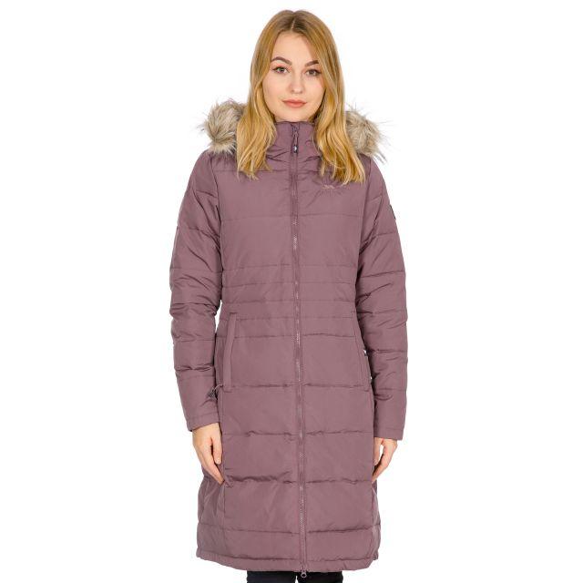 Trespass Womens Down Parka Jacket Long Phyllis in Light Purple