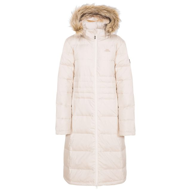 Trespass Womens Down Parka Jacket Long Phyllis in White, Front view on mannequin