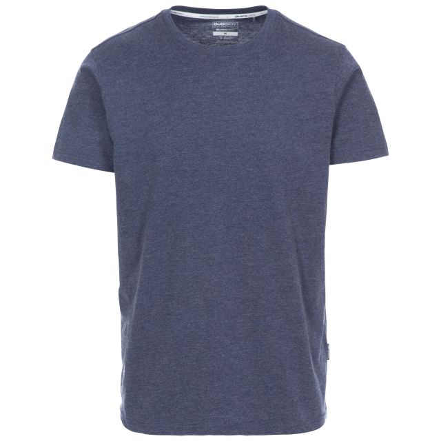 Plaintee Men's Quick Dry Casual T-shirt in Navy, Front view on mannequin