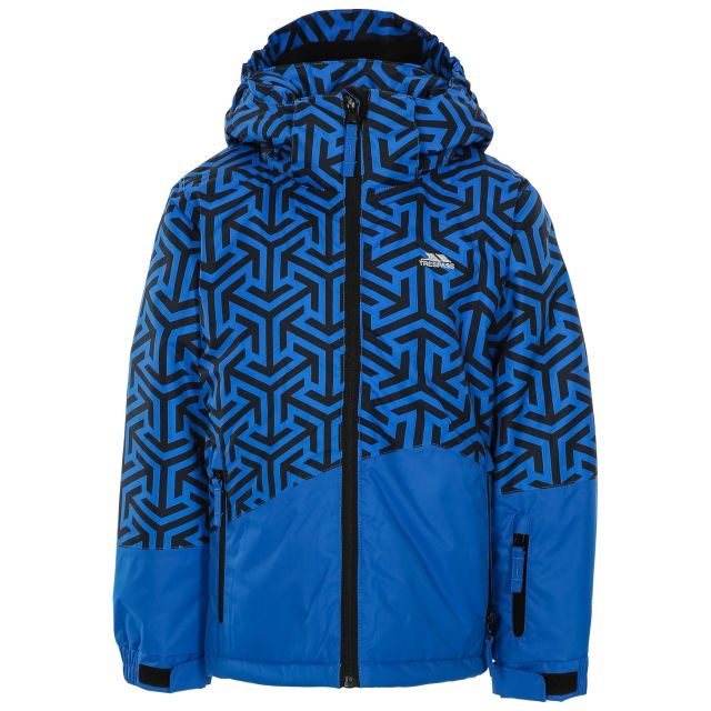 Pointarrow Kids' Printed Ski Jacket in Blue, Front view on mannequin