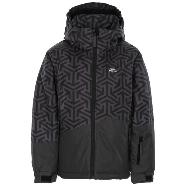 Pointarrow Kids' Printed Ski Jacket in Grey, Front view on mannequin