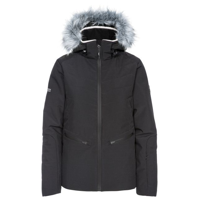Trespass Womens Ski Jacket Waterproof Poise in Black, Front view on mannequin