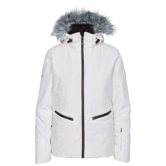 Trespass Womens Ski Jacket Waterproof Poise in White, Front view on mannequin