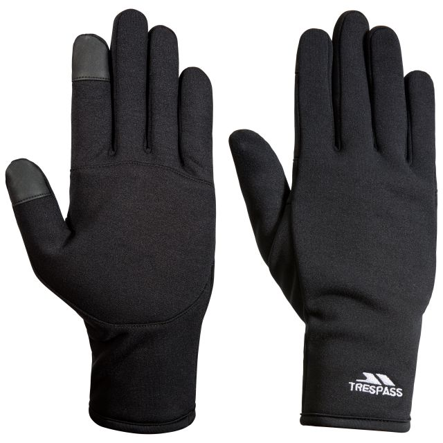 Trespass Adults Gloves with Touch Screen Fingertips in Black Poliner