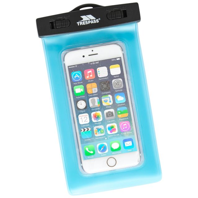 Waterproof Phone Pouch in Light Blue, Front view