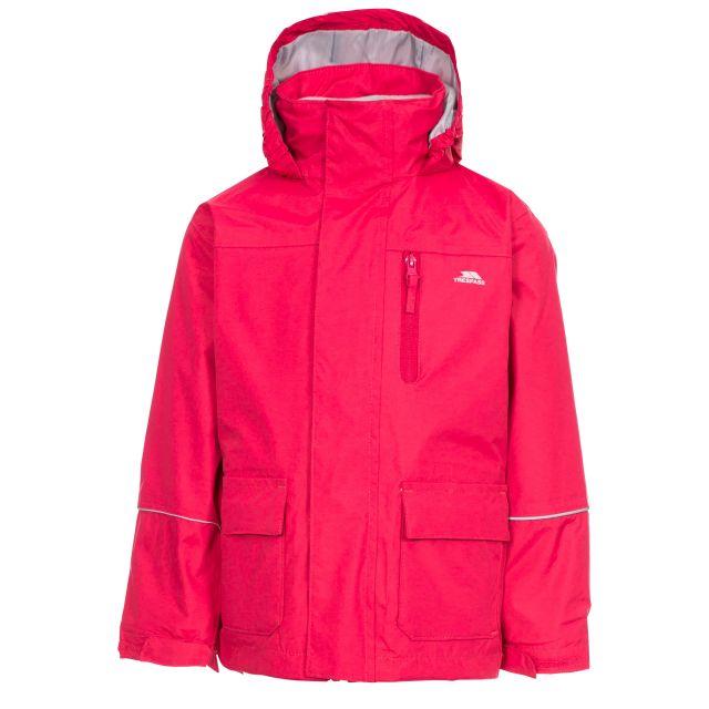 Prime II Kids' 3-in-1 Waterproof Jacket in Pink, Front view on mannequin