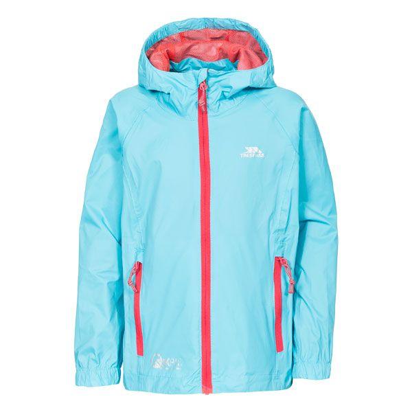 Qikpac Kids' Waterproof Packaway Jacket in Light Blue, Front view on mannequin