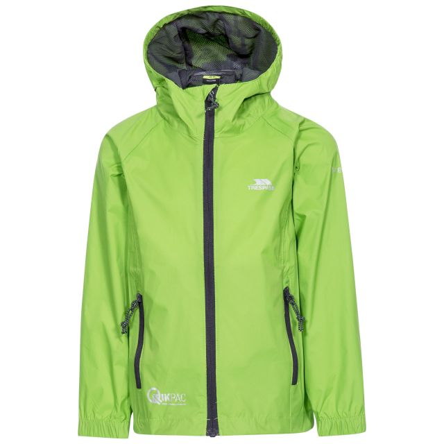 Qikpac Kids' Waterproof Packaway Jacket in Green, Front view on mannequin