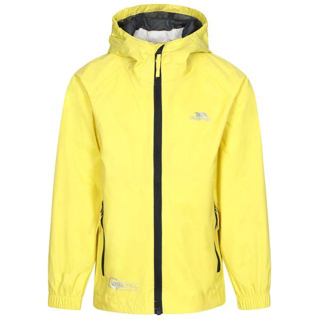 Qikpac Kids' Waterproof Packaway Jacket in Yellow, Front view on mannequin