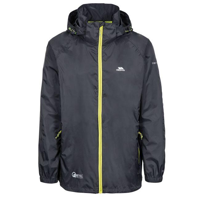 Qikpac X Adults' Waterproof Packaway Jacket in Black, Front view on mannequin