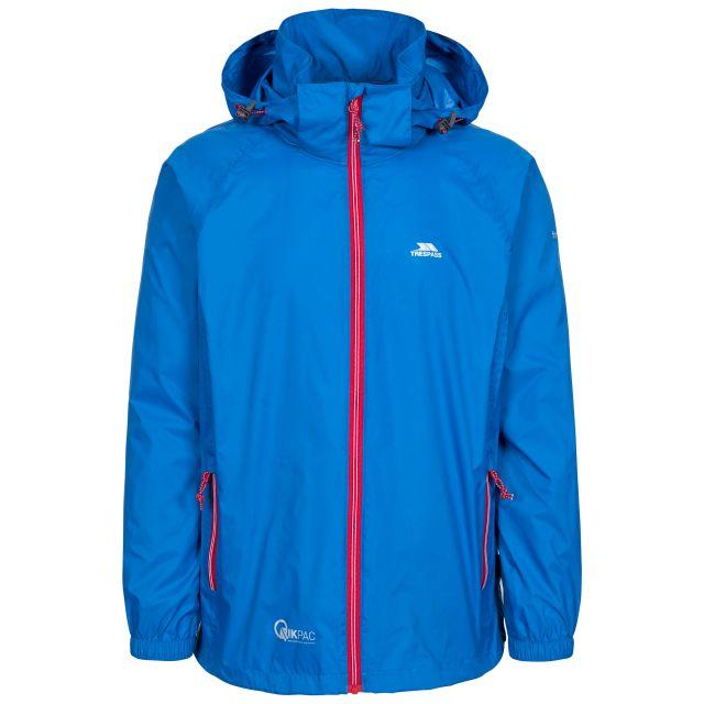 Qikpac X Adults' Waterproof Packaway Jacket in Blue, Front view on mannequin