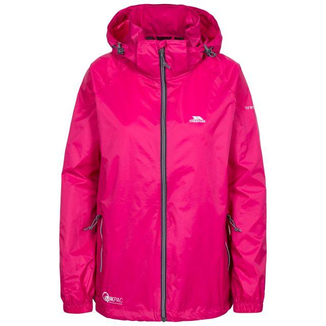 Qikpac X Adults' Waterproof Packaway Jacket in Pink, Front view on mannequin