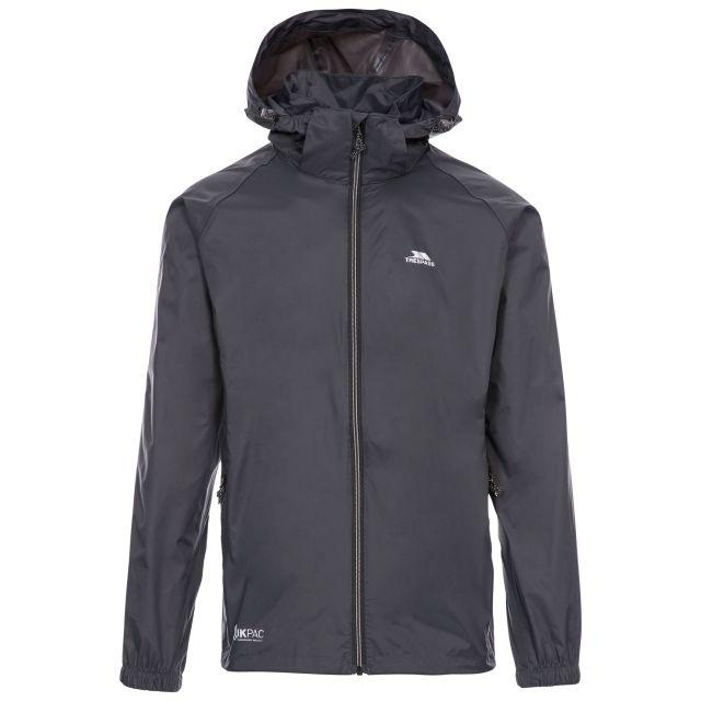 Qikpac X Adults' Waterproof Packaway Jacket in Grey, Front view on mannequin