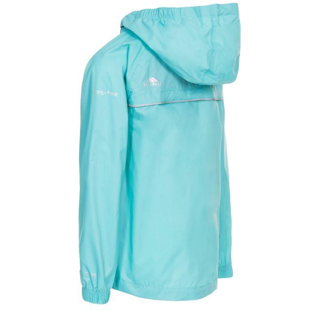 Trespass Kids Waterproof Packaway Jacket Zip Hood Qikpac X Aquamarine