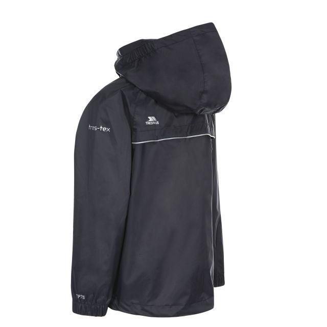 Trespass Kids Waterproof Packaway Jacket Zip Hood Qikpac X Black