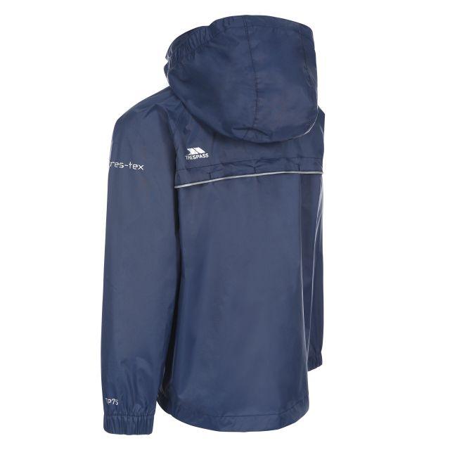 Trespass Kids Waterproof Packaway Jacket Zip Hood Qikpac X Navy
