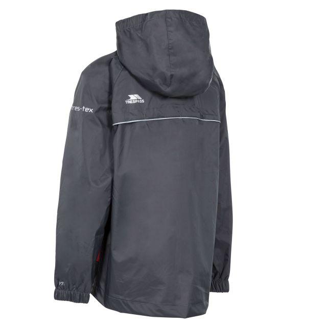 Trespass Kids Waterproof Packaway Jacket Zip Hood Qikpac X Grey