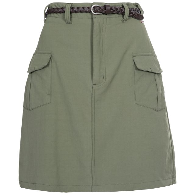 Quora Women's Belted Skirt in Khaki, Front view on mannequin