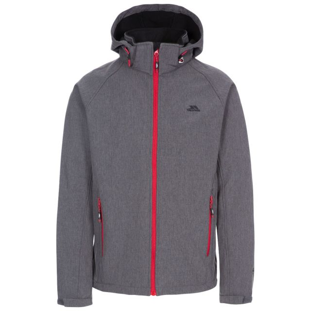 Rafi Men's Hooded Softshell Jacket in Dark Grey Marl, Front view on mannequin