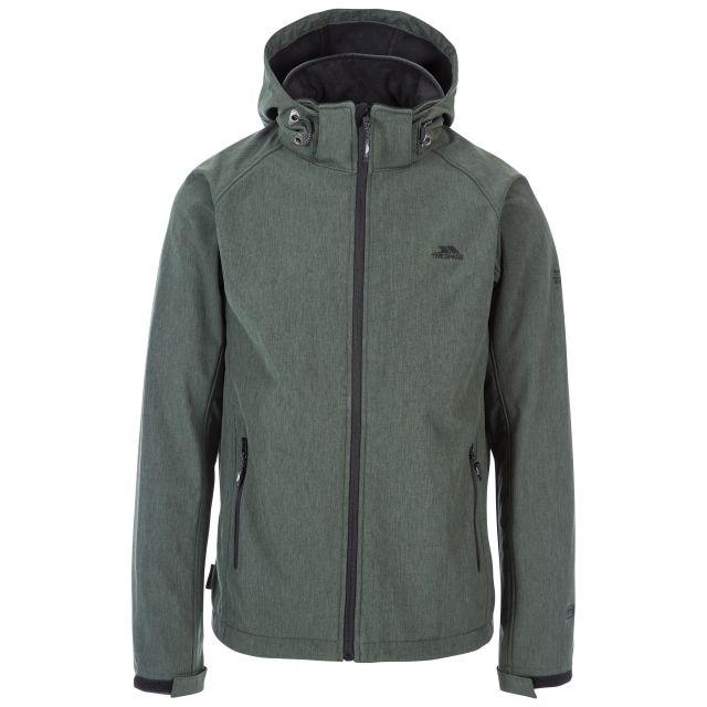 Rafi Men's Hooded Softshell Jacket in Green, Front view on mannequin