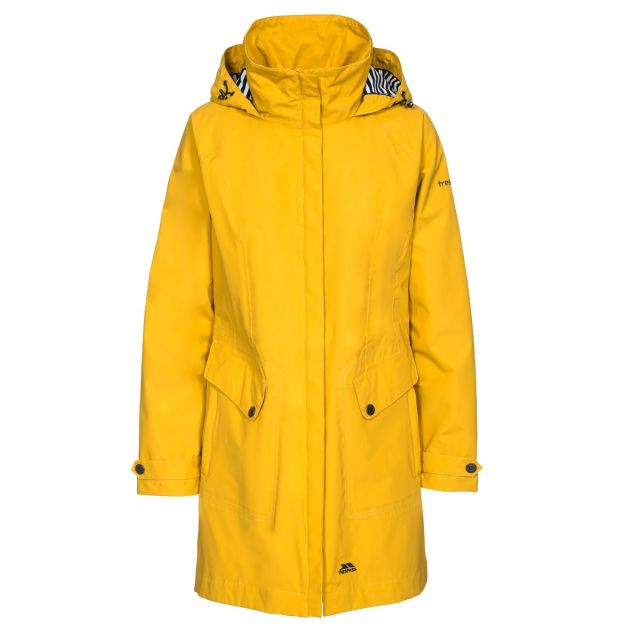 Rainy Day Women's Waterproof Jacket in Yellow, Front view on mannequin