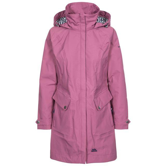 Rainy Day Women's Waterproof Jacket in Purple, Front view on mannequin