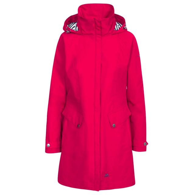 Rainy Day Women's Waterproof Jacket in Red, Front view on mannequin