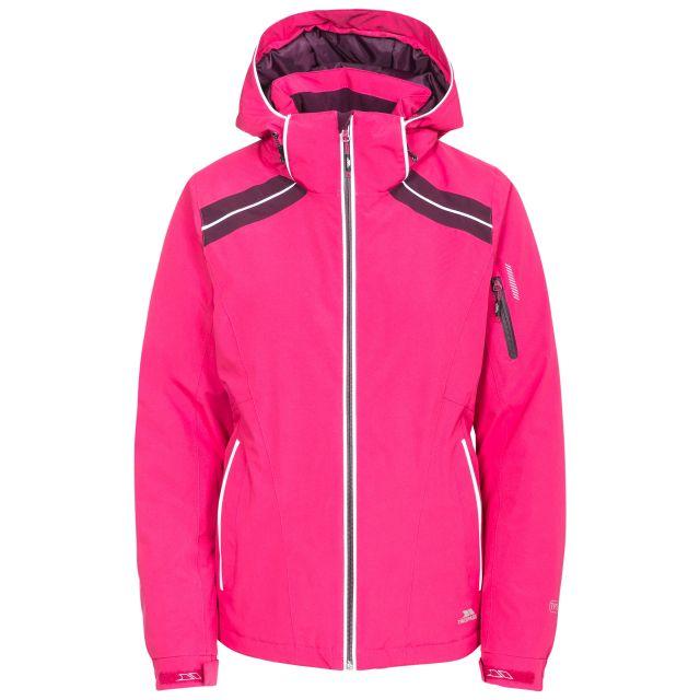 Raithlin Women's Waterproof Ski Jacket in Pink, Front view on mannequin