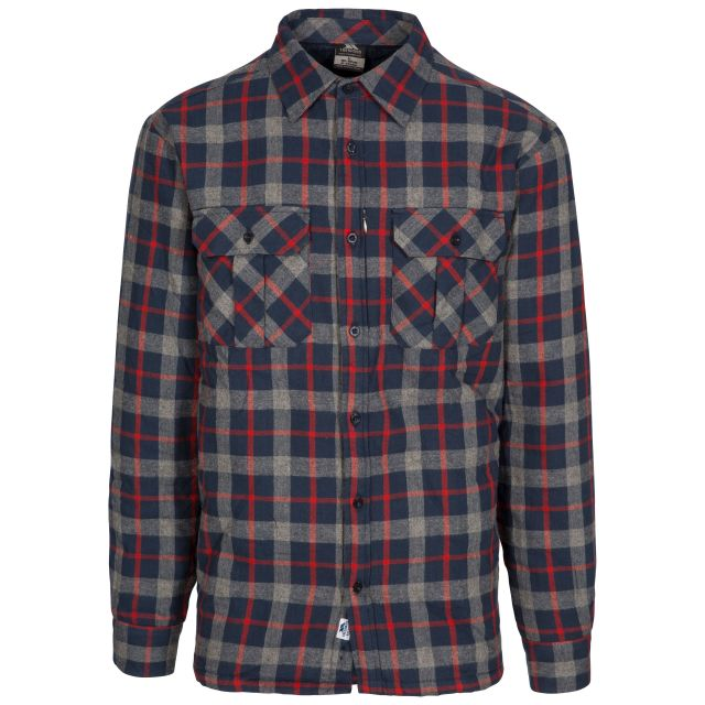 Rapeseed Men's Fleece Lined Checked Shirt in Navy, Front view on mannequin
