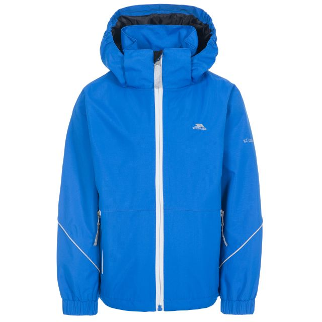Rapt Kids' Waterproof Jacket in Blue, Front view on mannequin