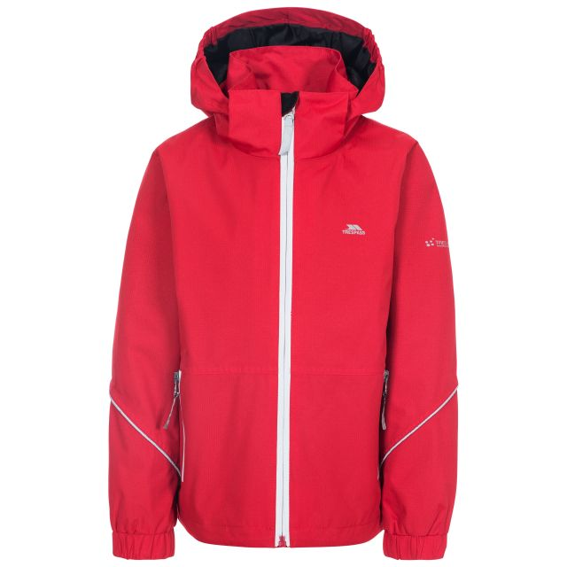Rapt Kids' Waterproof Jacket in Red, Front view on mannequin