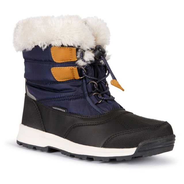 Ratho Youth Waterproof Snow Boots in Navy, Angled view of footwear