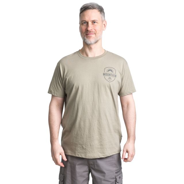 Rawhider Men's Printed Casual T-Shirt  in Beige, Front view on model