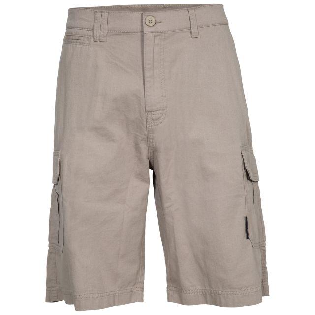 Rawson Men's Cargo Shorts in Beige, Front view on mannequin