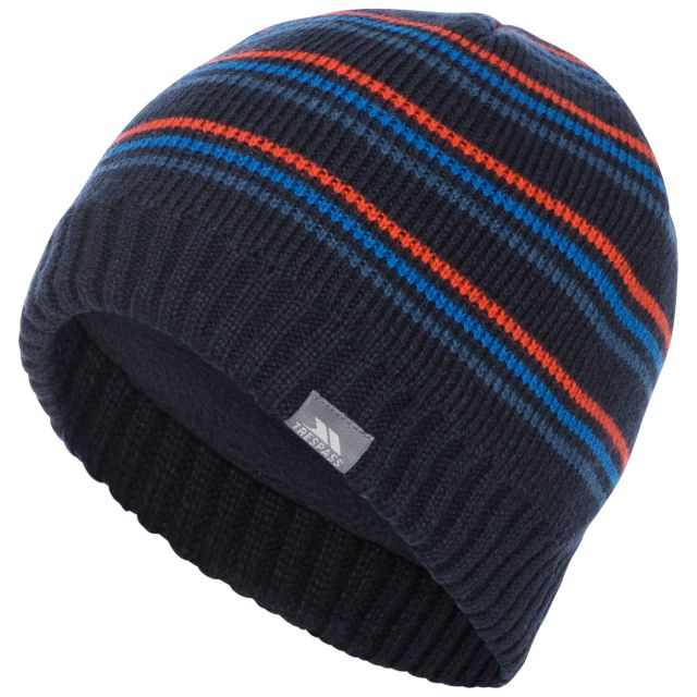 Ray Beanie Hat in Navy, Hat at angled view
