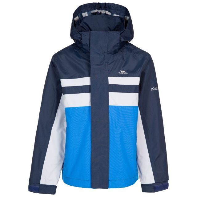 Trespass Kids' Waterproof Detachable Hood Jacket Raymont - BLU, Front view on mannequin