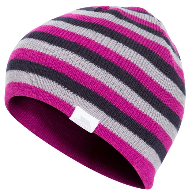 Reagan Kids' Reversible Beanie Hat in Purple, Hat at angled view