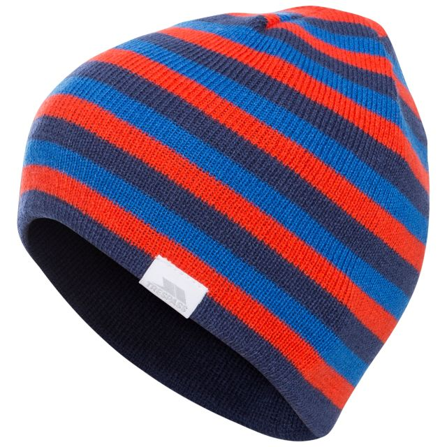 Reagan Kids' Reversible Beanie Hat in Navy, Hat at angled view