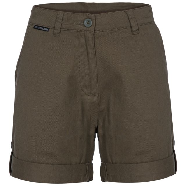 Rectify Women's Breathable Cotton Shorts in Khaki, Front view on mannequin