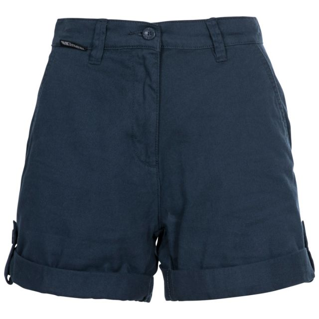 Rectify Women's Breathable Cotton Shorts in Navy, Front view on mannequin
