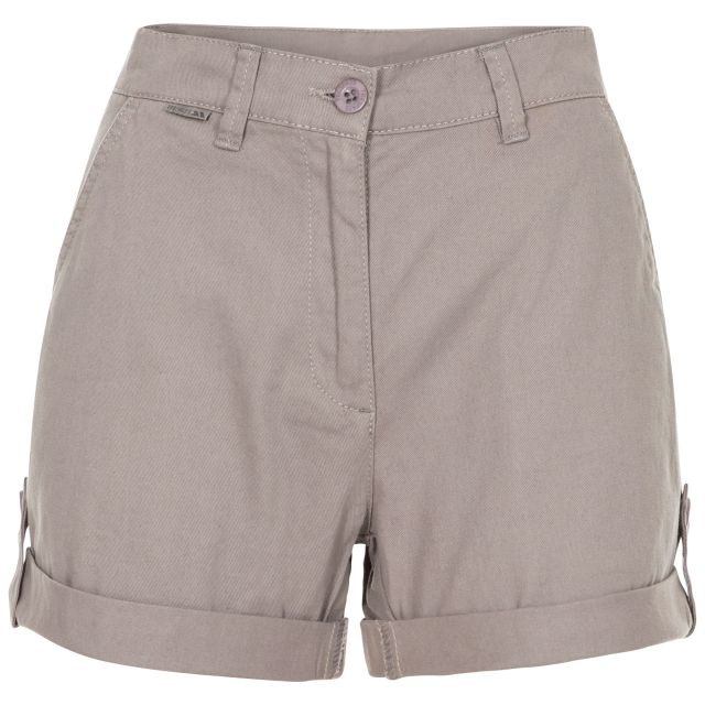 Rectify Women's Breathable Cotton Shorts in Grey, Front view on mannequin