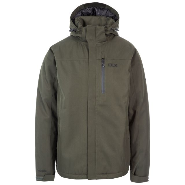 Renner Men's DLX Insulated Waterproof Jacket in Khaki, Front view on mannequin