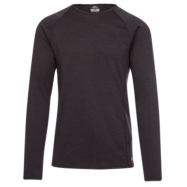 Trespass Mens Base Layer Top Long Sleeve Quick Dry Rennie Dark Grey, Front view on mannequin