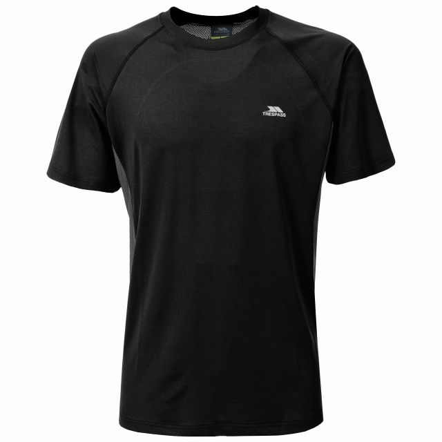 Reptia Men's Quick Dry Active T-Shirt in Black, Front view on mannequin
